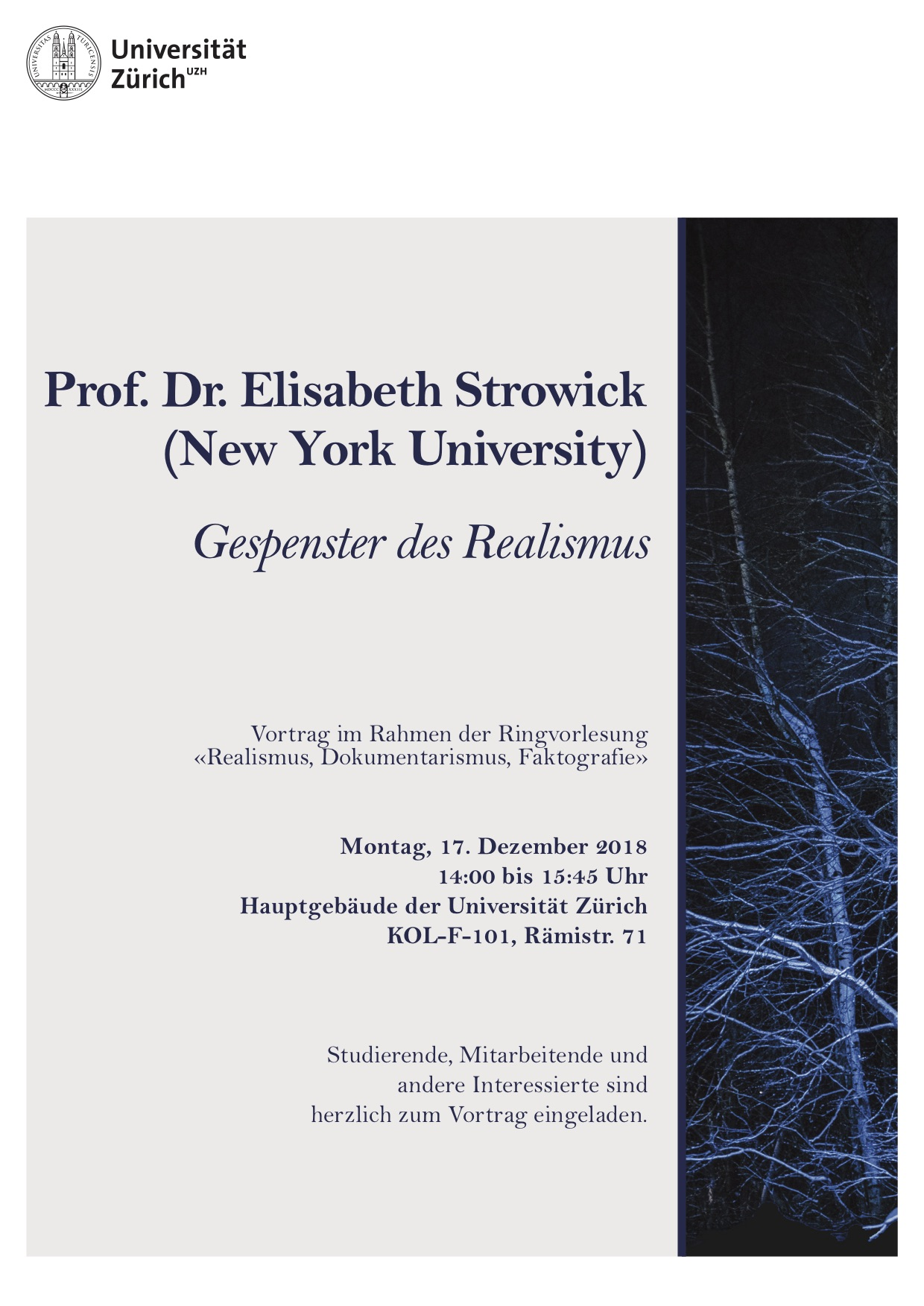 "Prof. Dr. Elisabeth Strowick (New York University) ""Gespenster des Realismus"""