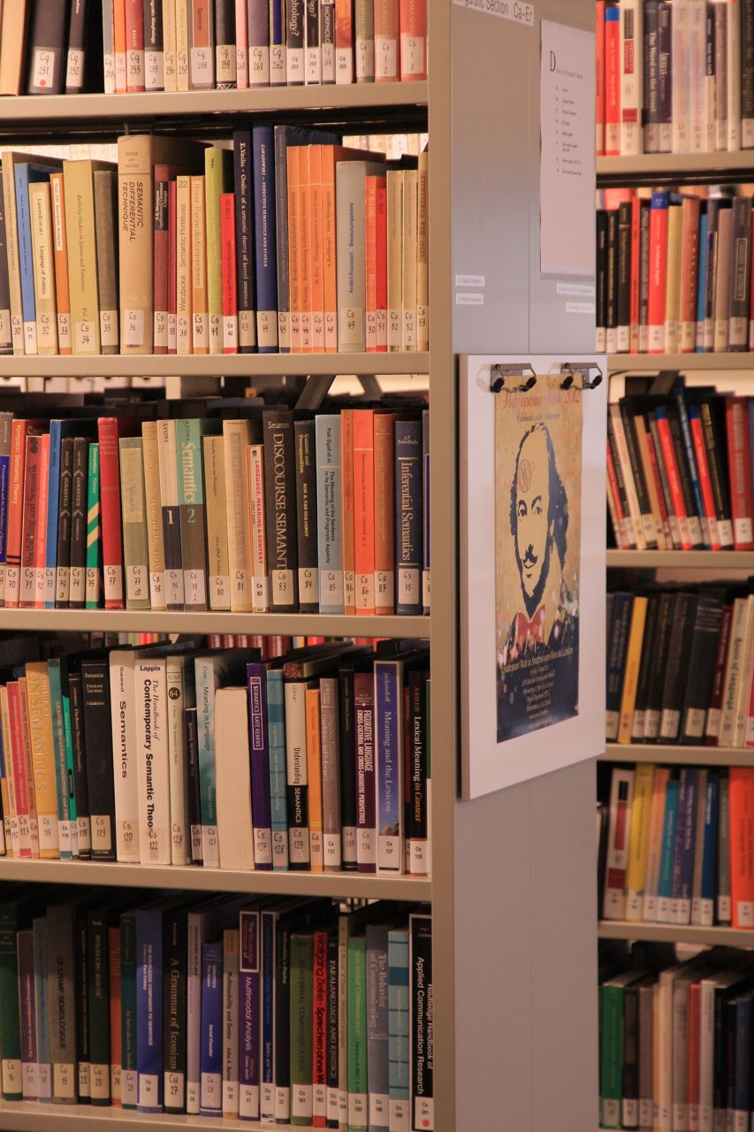 book shelves, English Department Library